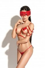 Портупея Me Seduce Queen of hearts Hussard, красная, S/M